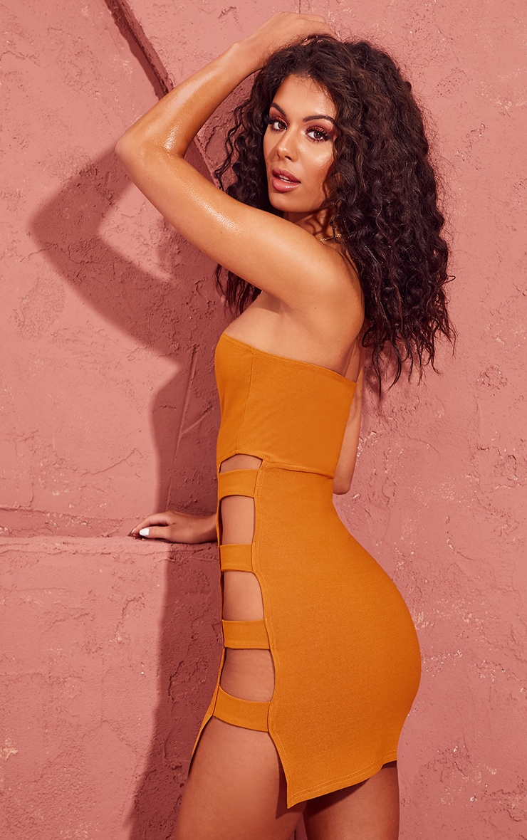 Mustard Split Side Bandeau Bodycon Dress 2