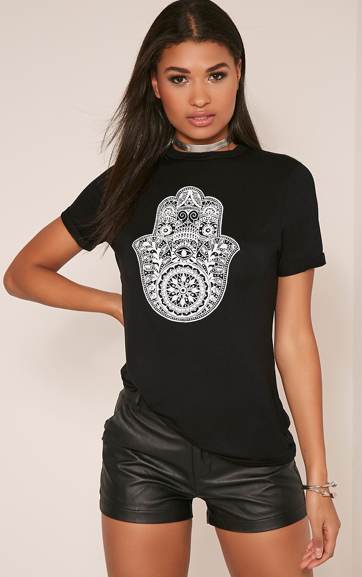 Hamza Print Black T-Shirt 1