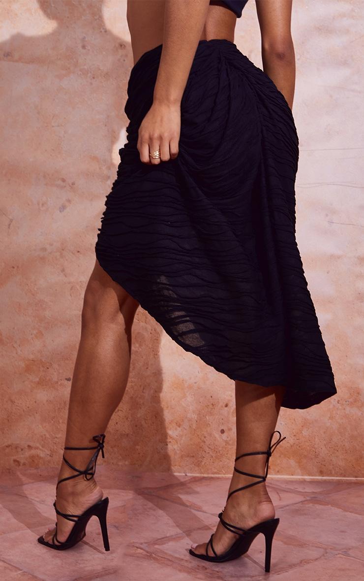 Black Textured Dip Waist Ruched Midi Skirt 3