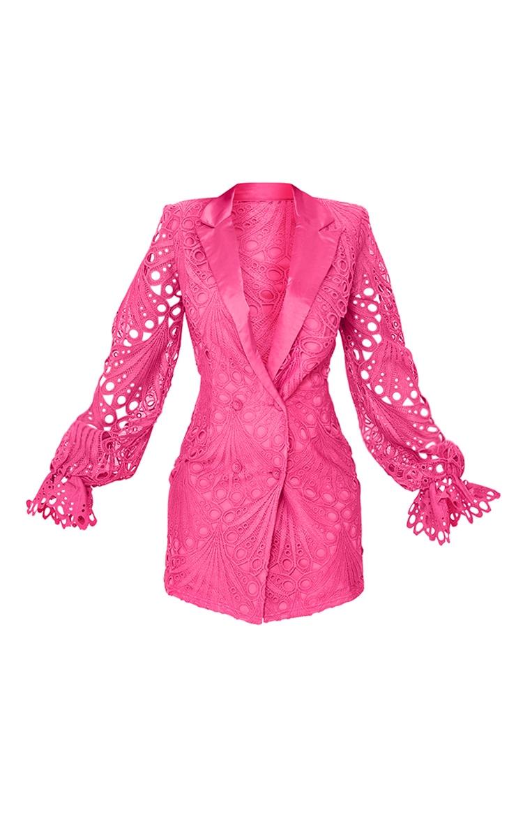Bright Pink Thick Lace Frill Sleeve Blazer Dress 5