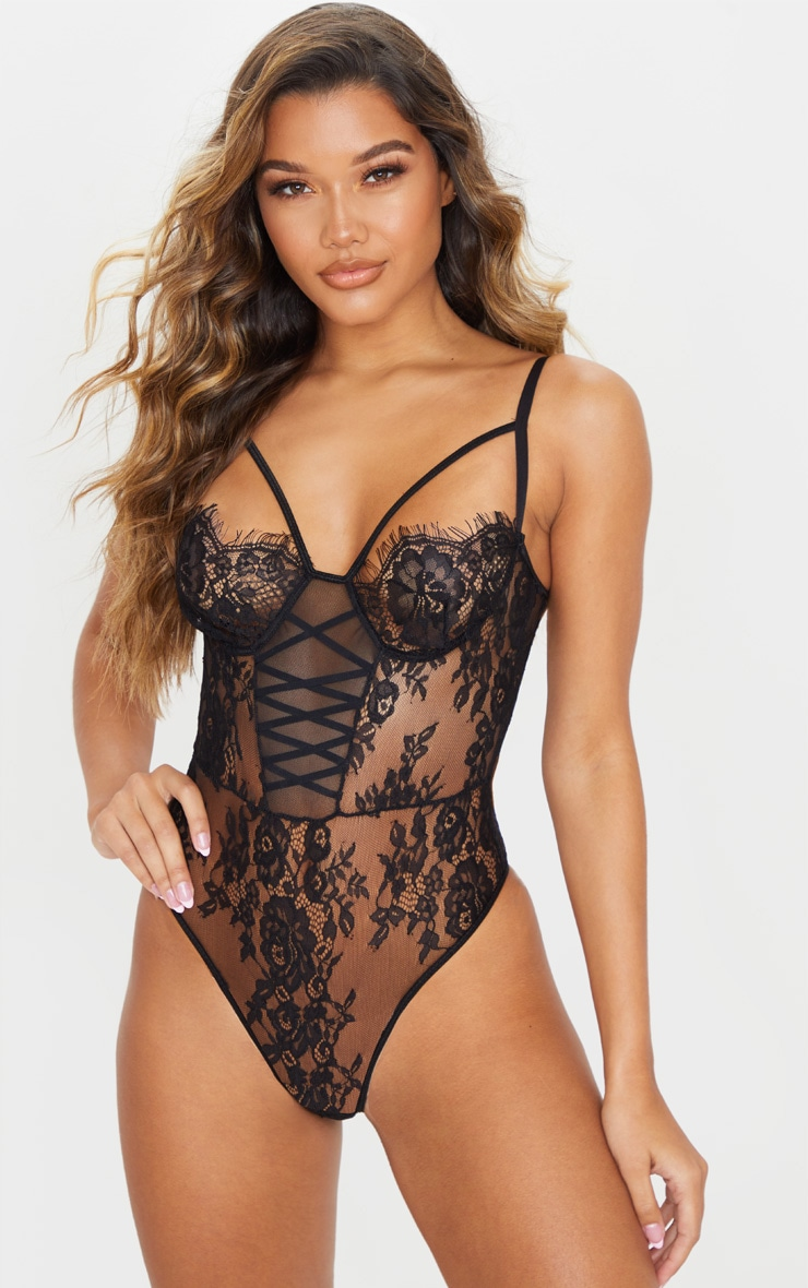 Black Lace Up Harness All Over Lace Strappy Body 1