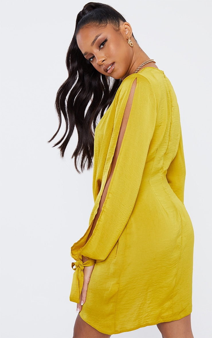 Chartreuse Tie Sleeve Plunge Shift Dress 2