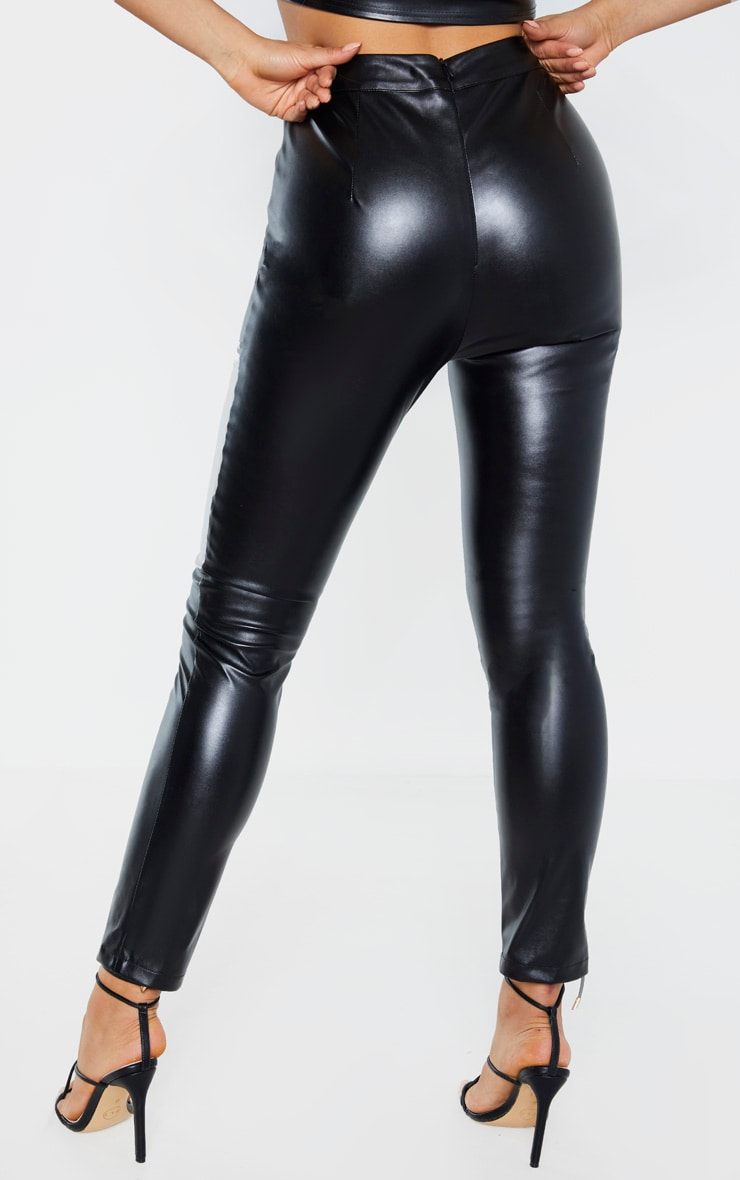 Tall Black Cropped Faux Leather Pants 4