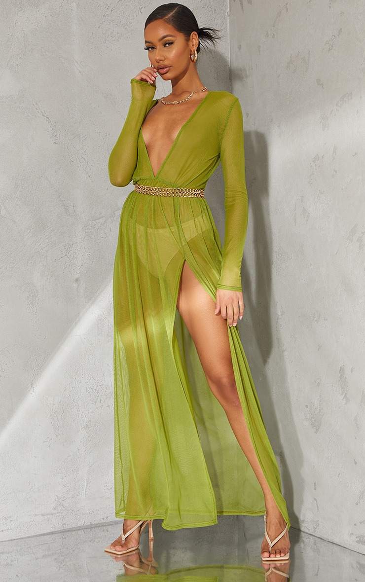 Olive Sheer Mesh Plunge Long Sleeve Split Maxi Dress 1
