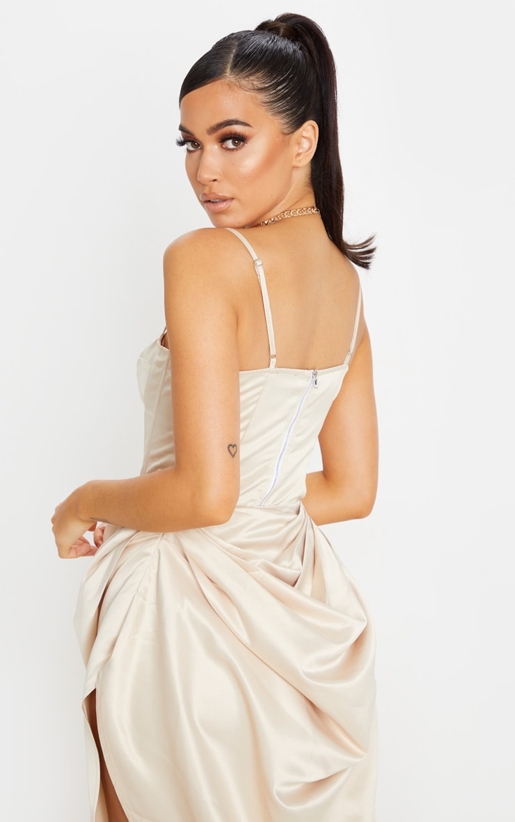 Cream Satin Woven Cup Detail Strappy Corset 2
