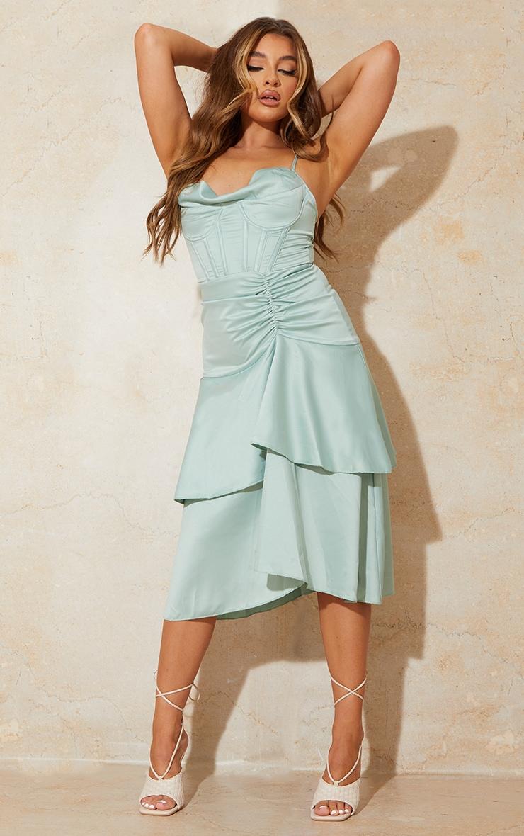 Sage Green Satin Corset Cowl Strappy Midi Dress 1