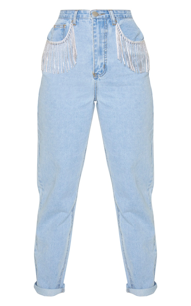 Light Blue Wash Diamante Tassel Pocket Jeans 3