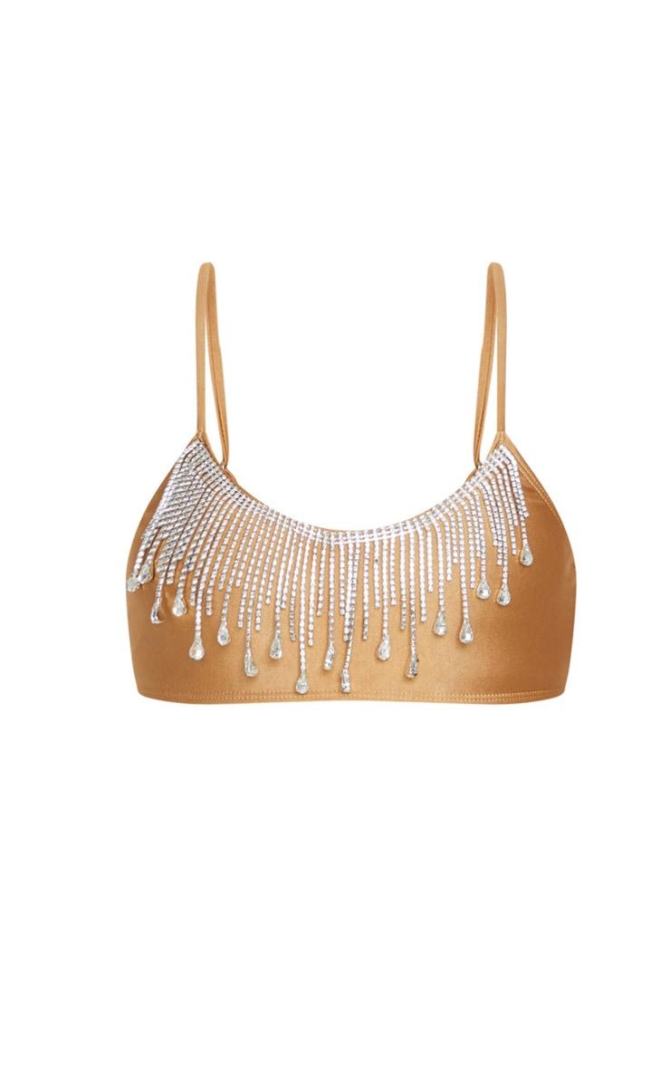 Mocha Drip Diamante Scoop Neck Bikini Top 6