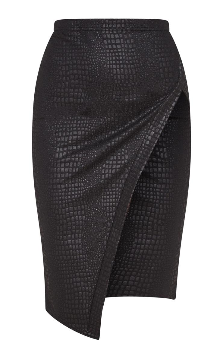 Black Embossed Croc Extreme Split Midi Skirt  3