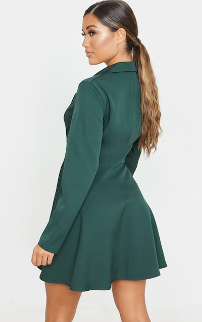 Emerald Green Skater Blazer Dress