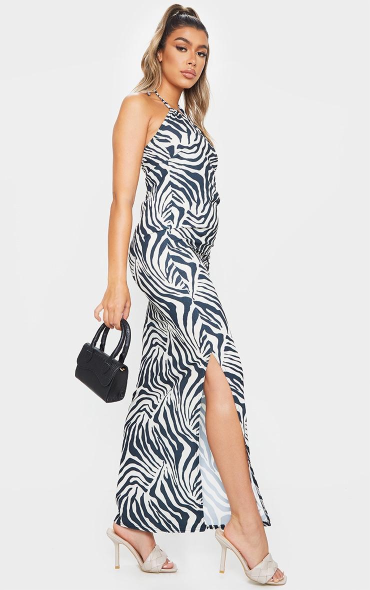 Cream Zebra Print Halterneck Maxi Dress 3
