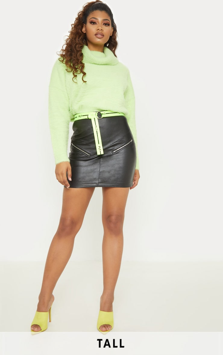 Tall Black Faux Leather Zip Detail Mini Skirt 1