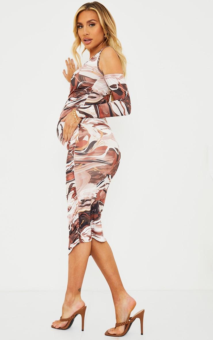 Maternity Chocolate One Sleeve Abstract Print Midi Dress 2