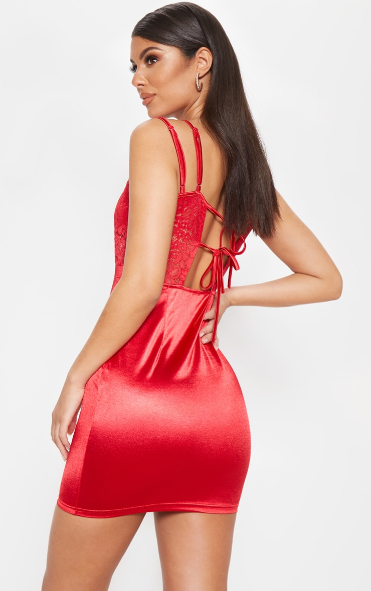 Red Satin Lace Insert Double Strap Bodycon Dress 2