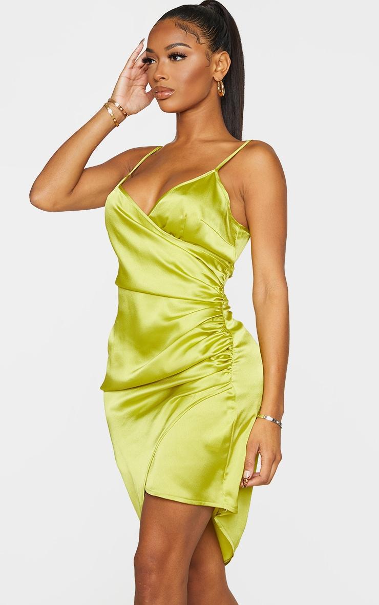 Shape Lime Satin Wrap Dress 3