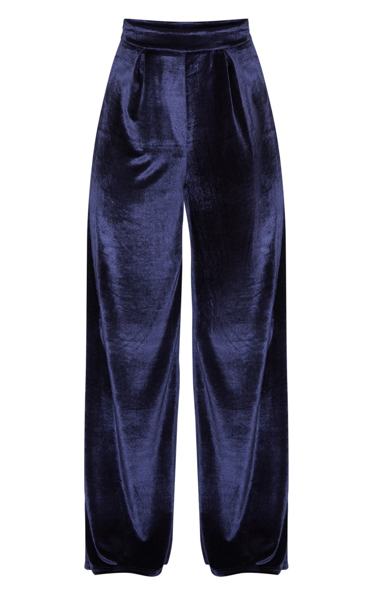 Navy Velvet High Waisted Wide Leg Pants 3
