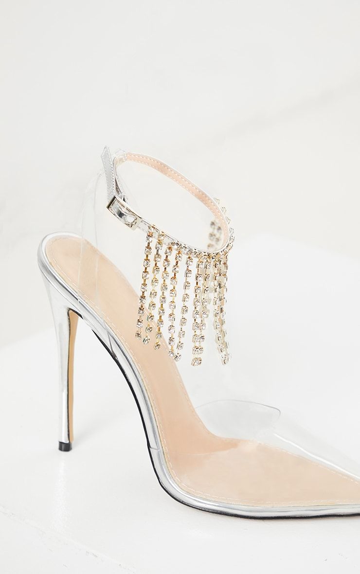 Silver Diamante Tassel Clear Court Shoe 4