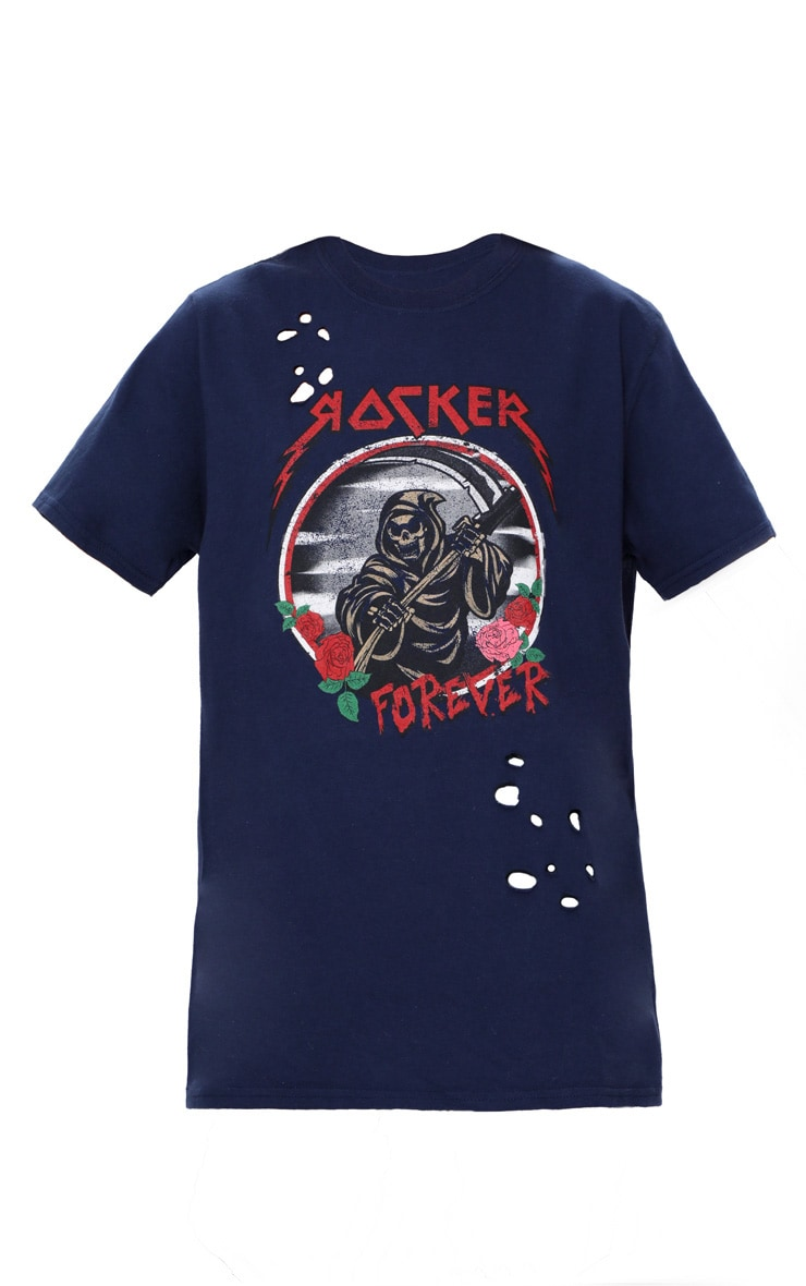 Navy Rocker Slogan Distressed T Shirt 3