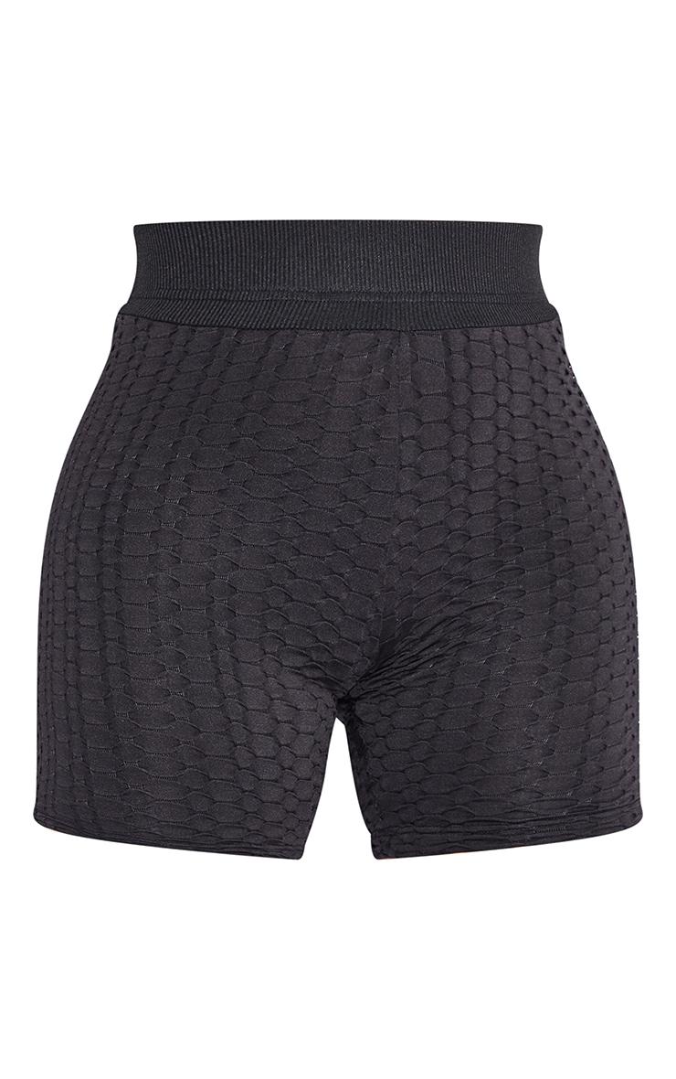 PRETTYLITTLETHING Shape Black Textured Ruched Bum Gym Shorts 6