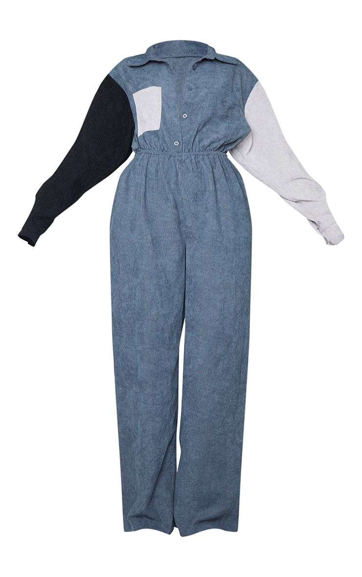 Charcoal Cord Colour Block Shirt Jumpsuit 5