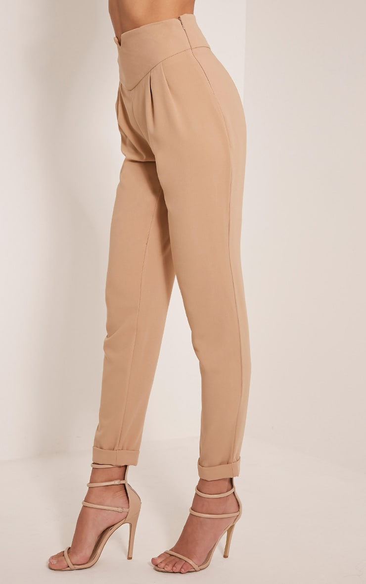 Elenor Camel High Waisted Tapered Trousers 4