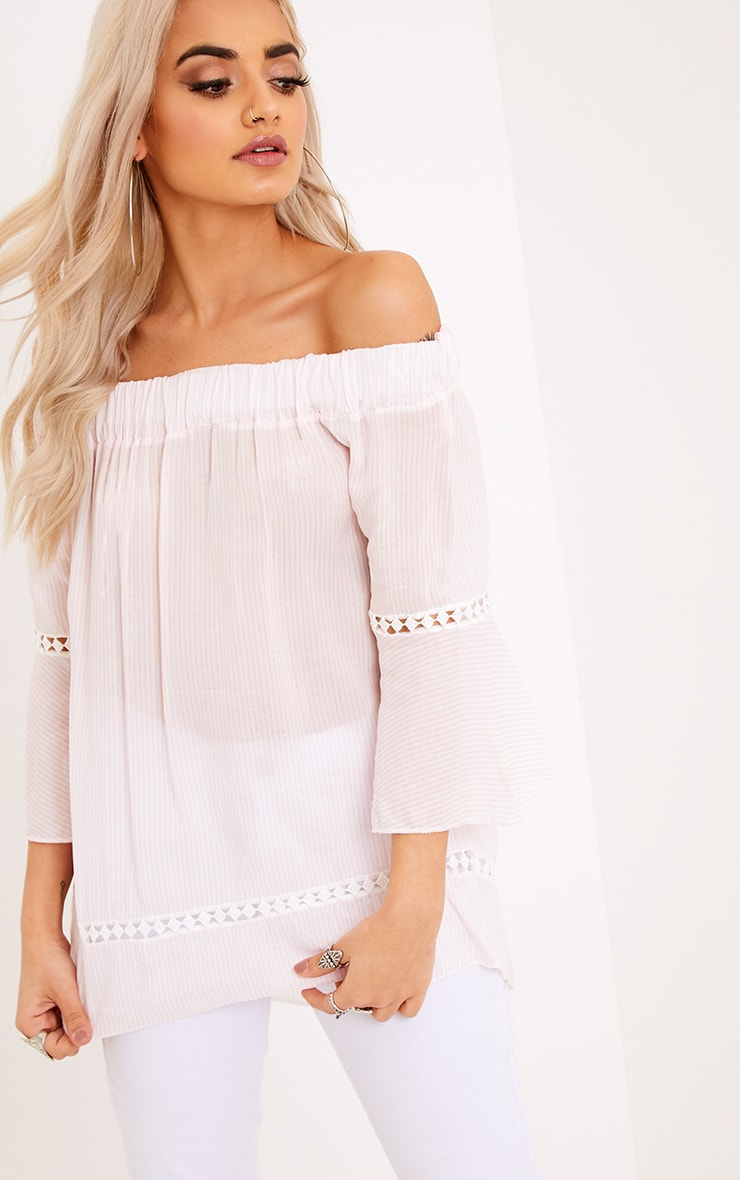 Althea Pink Stripe Bardot Crochet Detail Shirt 1