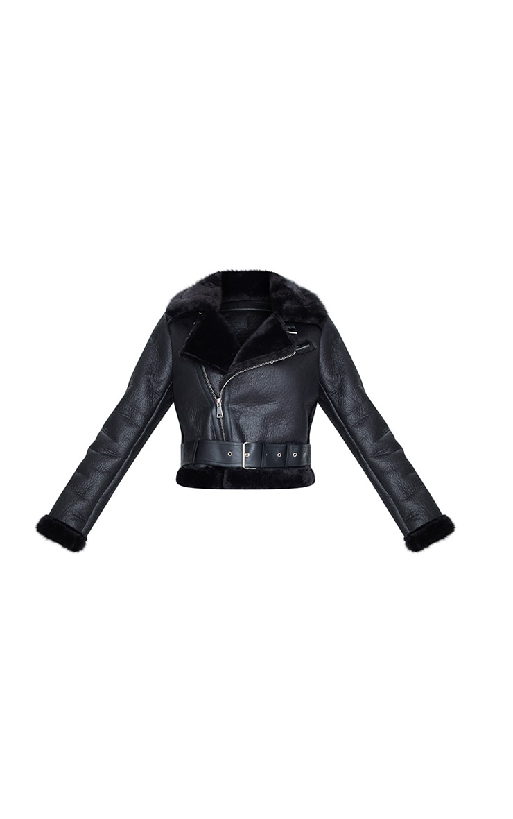 Black PU Cropped Belted Aviator 5
