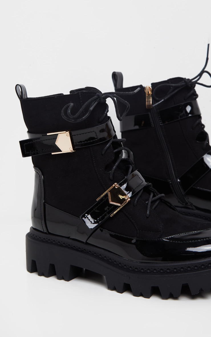 Black Buckle Detailed Lace Up Cleated Ankle Boot 3