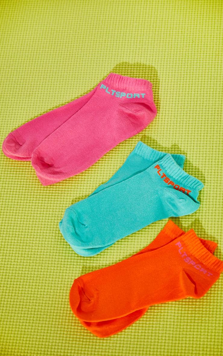 PRETTYLITTLETHING Multi Bright 3 Pack Trainer Socks 1