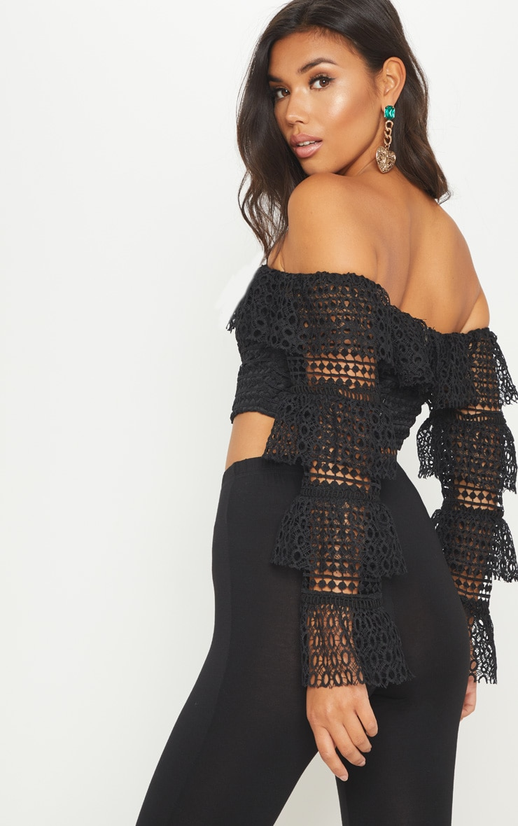 Black Lace Crop Tiered Sleeve Top 2
