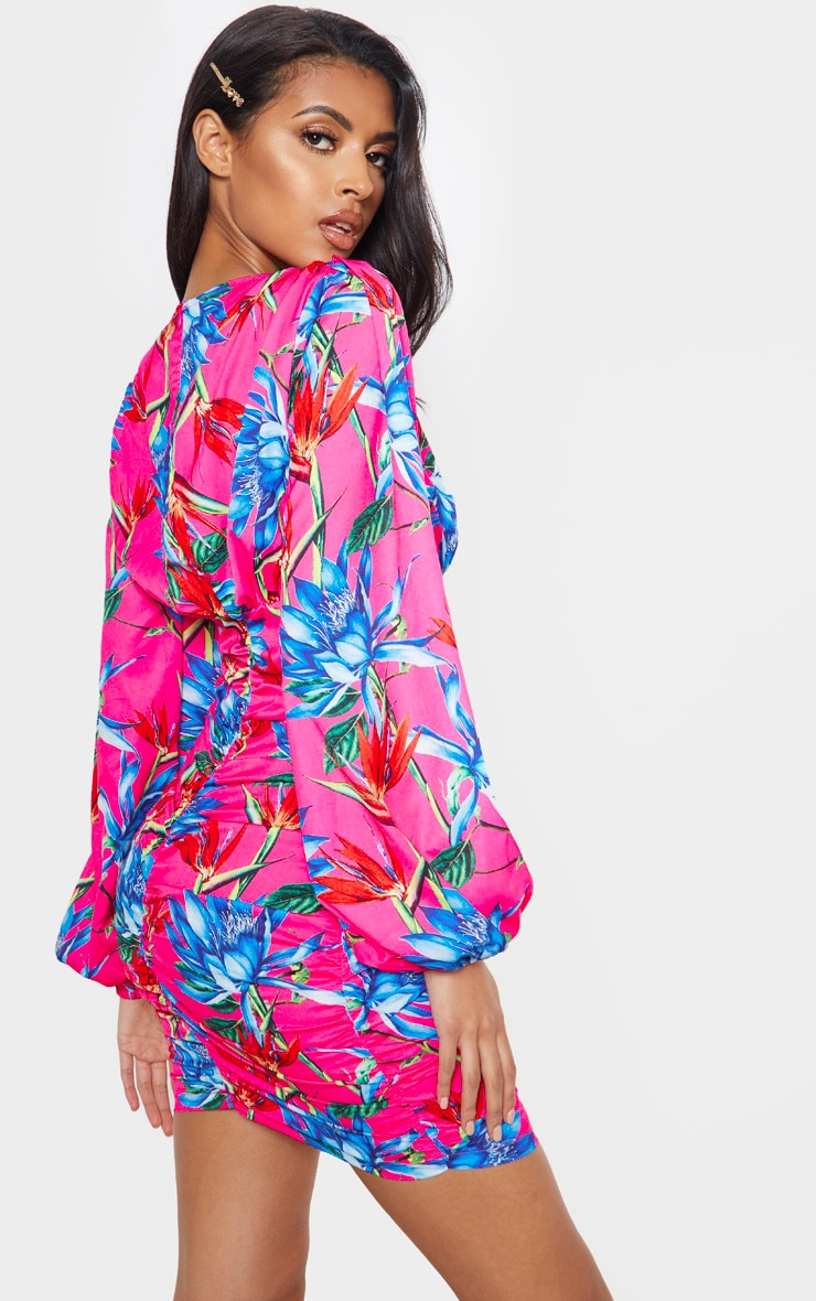 Bright Pink Floral Ruched Balloon Sleeve Bodycon Dress 2