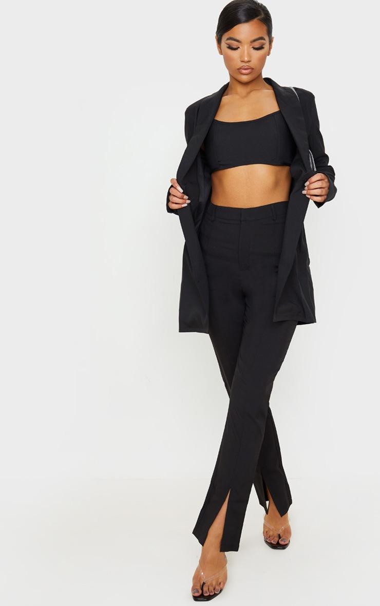Crop top noir en maille tissée à coutures devant et zip derrière 4