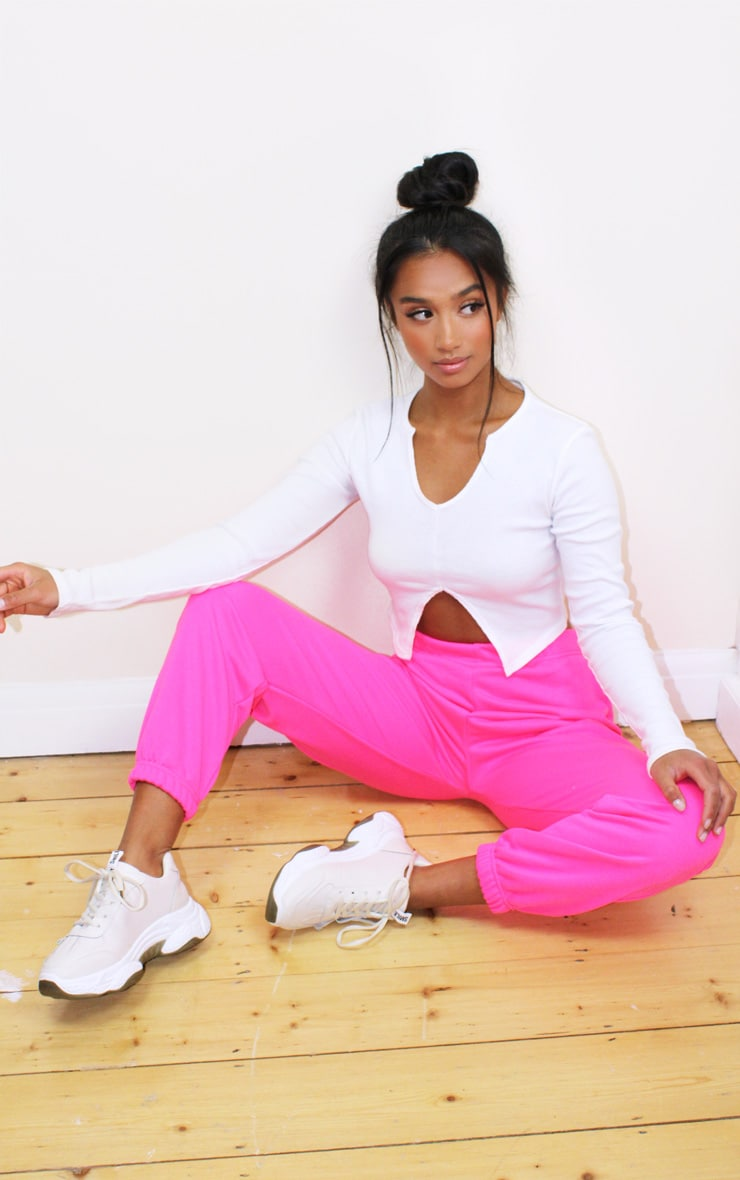 Petite Basic Hot Pink Cuffed Hem Joggers 1