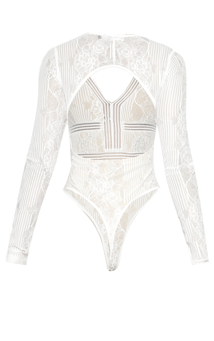 White Lace Open Back Thong Bodysuit  4