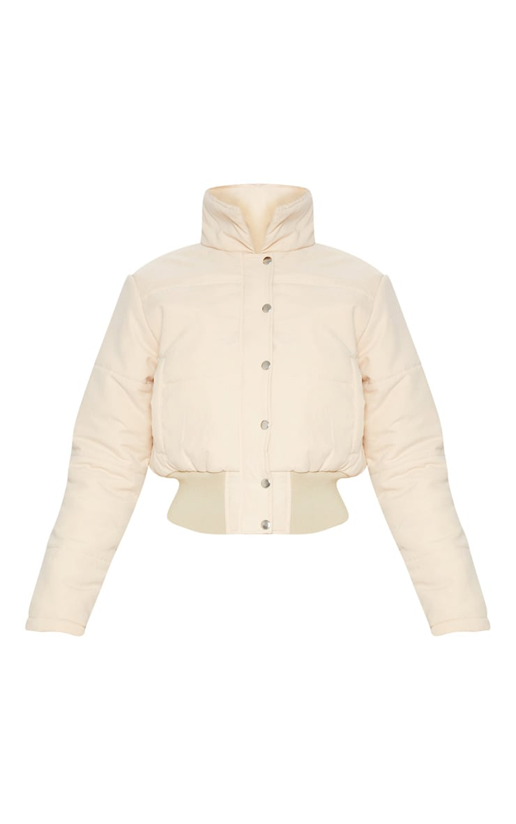 Beige Peach Skin Cropped Puffer Jacket 3