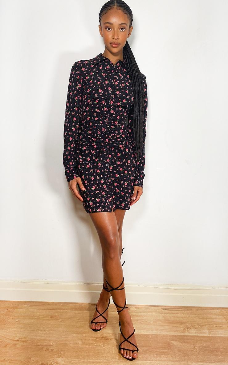 Black Floral Print Button Up Ruched Shirt Dress 3