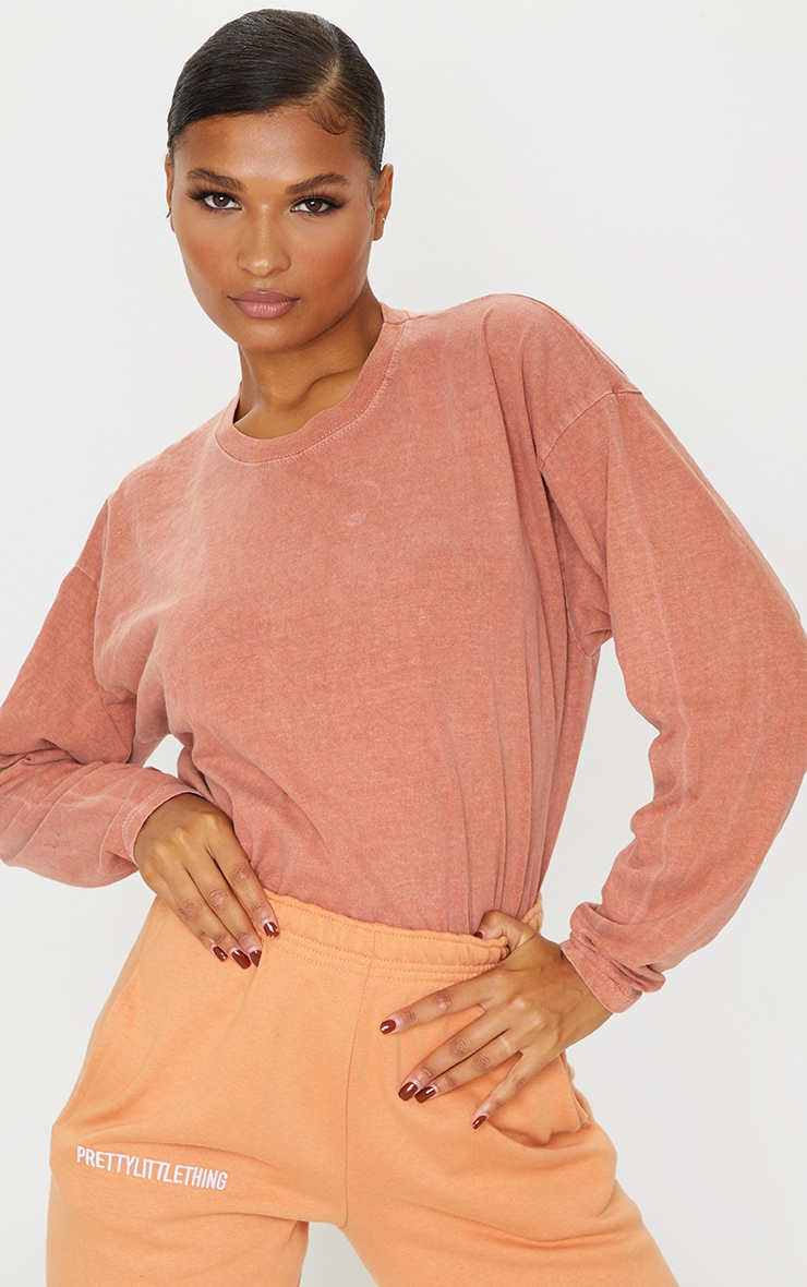 Rust Washed Long Sleeve T Shirt 4