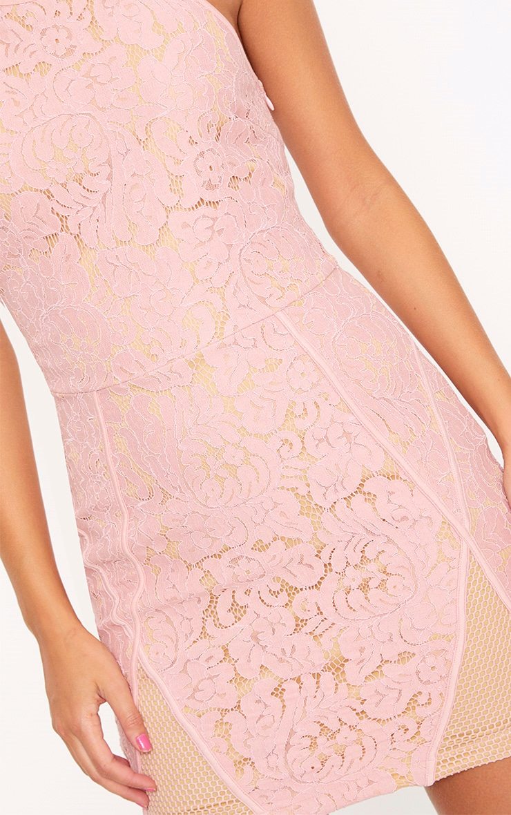 Dusty Pink Lace Fishnet Panel Halterneck Bodycon Dress 5