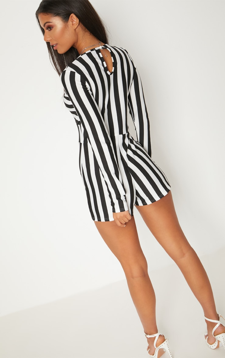 Monochrome Striped Long Sleeve Plunge Playsuit 2