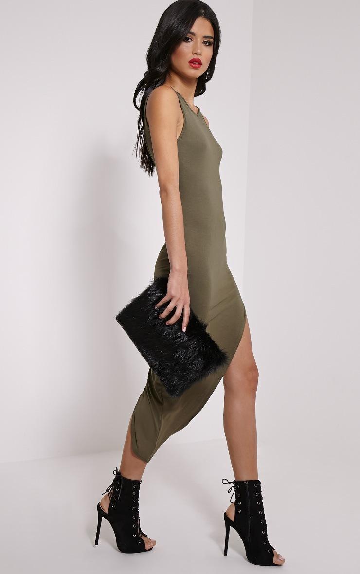 Rayne Khaki Asymmetric Jersey Scoop Back Dress 4