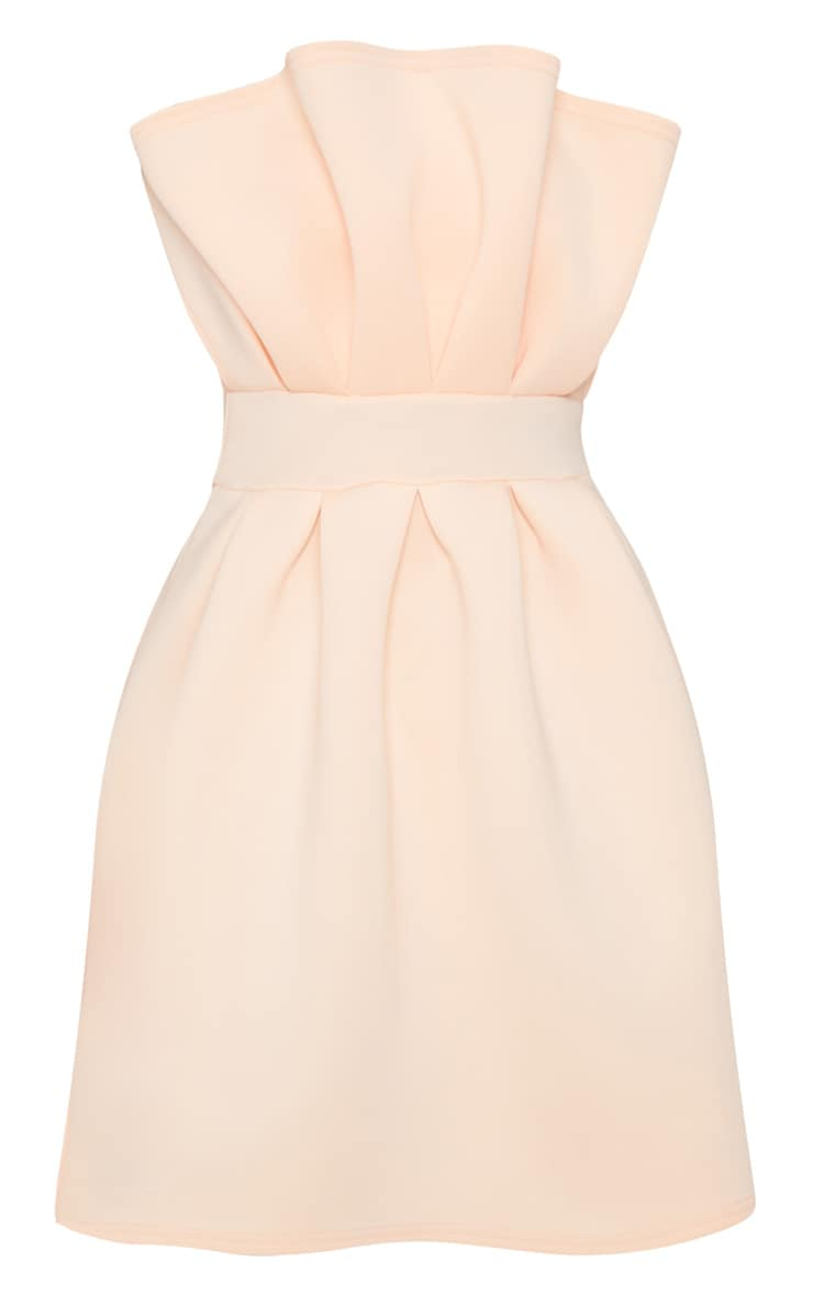 Nude Bonded Scuba Ruffle Detail Skater Dress 3