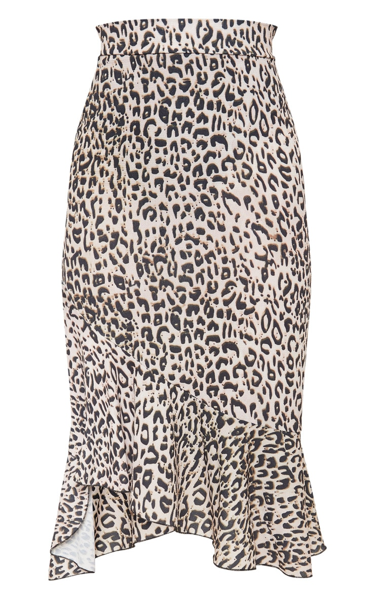 Petite Tan Leopard Ruffle Detail Midi Skirt  3