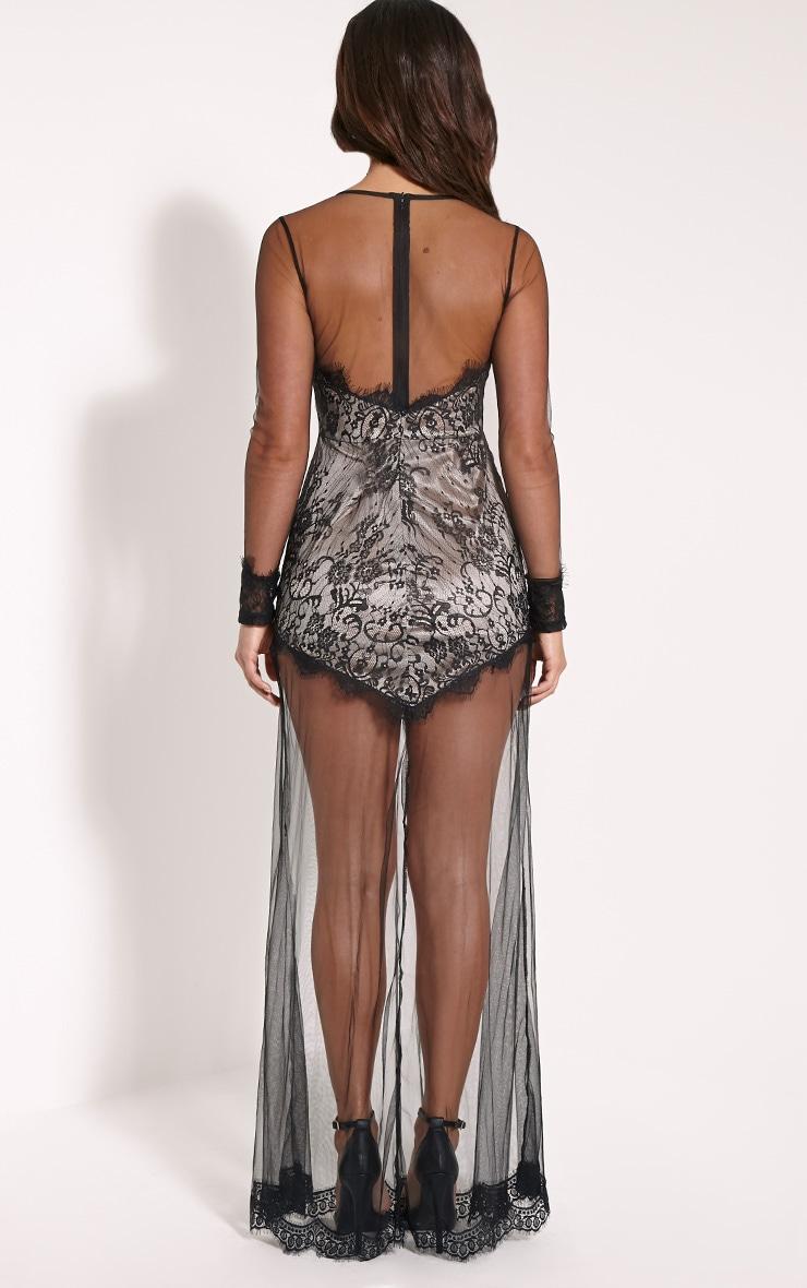 Phillipa Black Lace Mesh Insert Maxi Dress 2