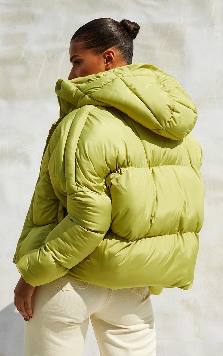Green Nylon Oversized Curved Panel Wadded Puffer Jacket 2
