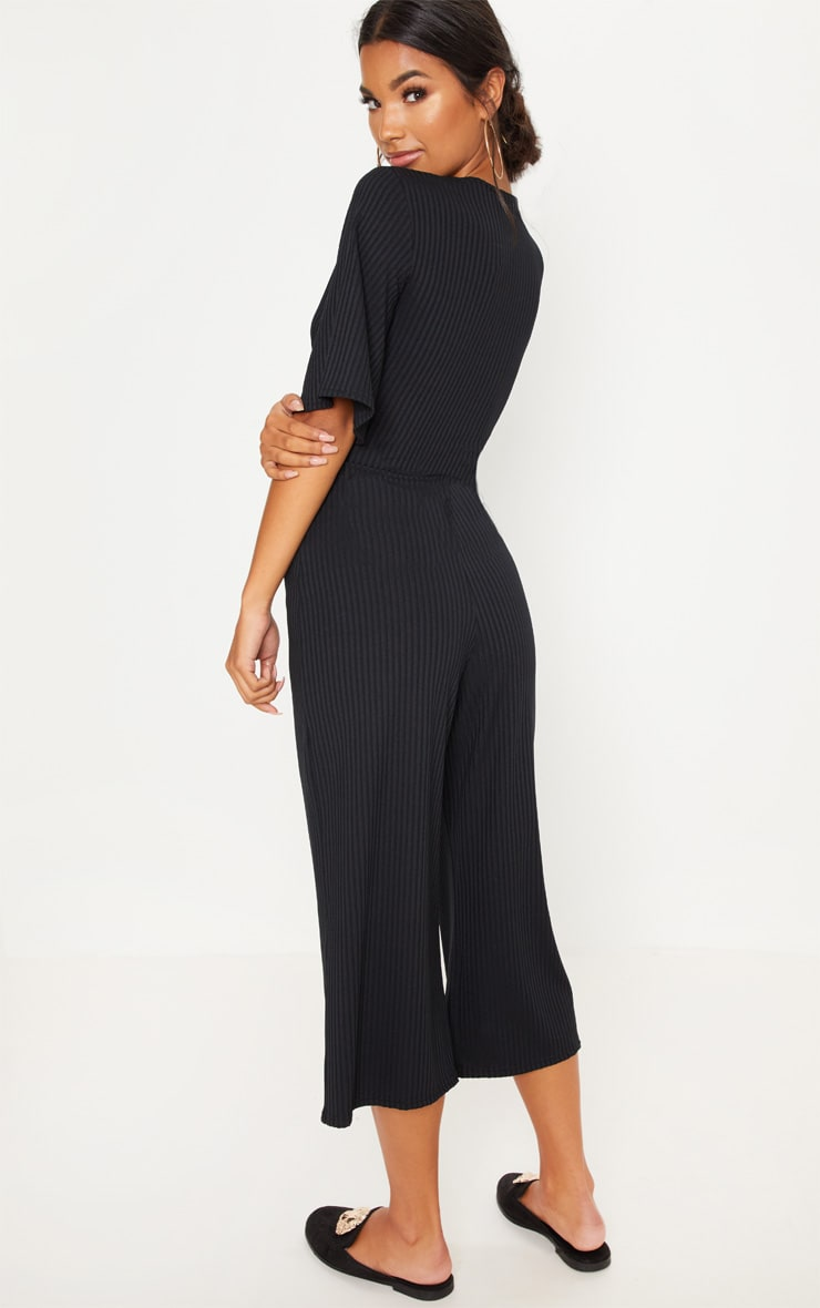 Black Ribbed Twist Detail Culotte Jumpsuit 2