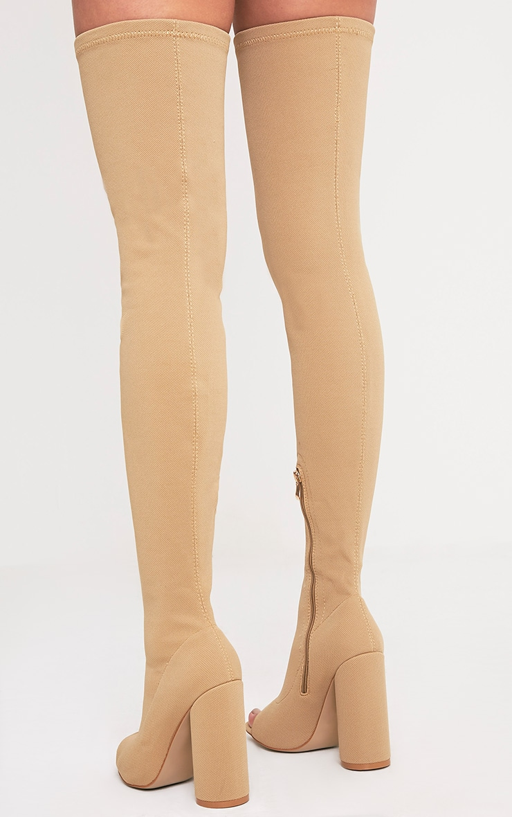 Beccy Stone Knitted Peep Toe Thigh Boots 4