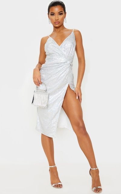 Silver Sequin Twist Front Strappy Midi Dress