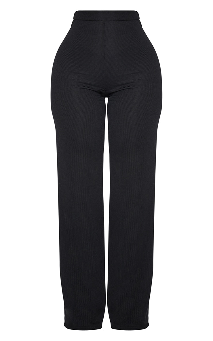 Shape Black High Waist Ribbed Wide Leg Trousers 3