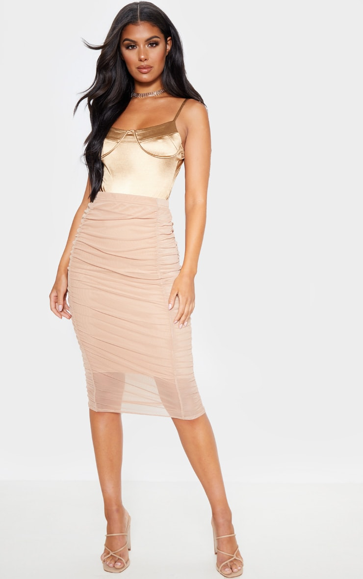 Camel Second Skin Ruched Mesh Midi Skirt 1