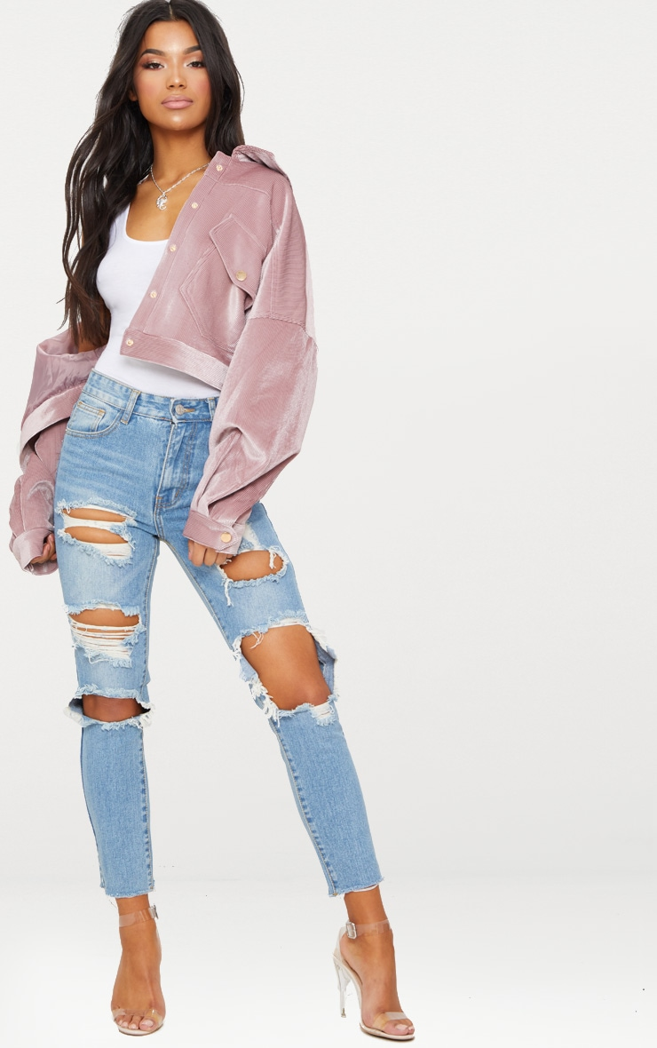 Light Wash Extreme Distressed Boyfriend Jean 1